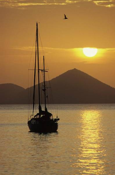 Anchored Ketch And Sunset Over Caribbean Poster