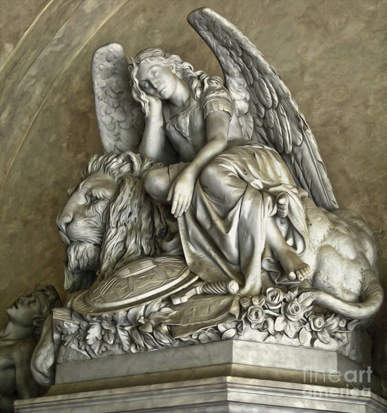 Angel And Lion Statue Poster