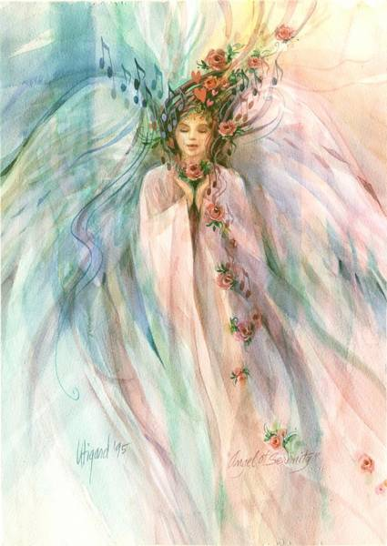 Poster featuring the painting Angel Of Serenity by Carolyn Utigard Thomas