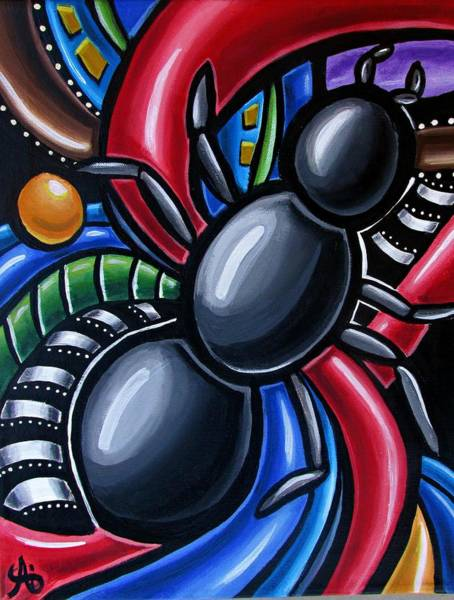 Ant Art Painting Colorful Abstract Artwork - Chromatic Acrylic Painting Poster
