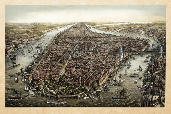 Antique 1873 Map Of Manhattan Poster
