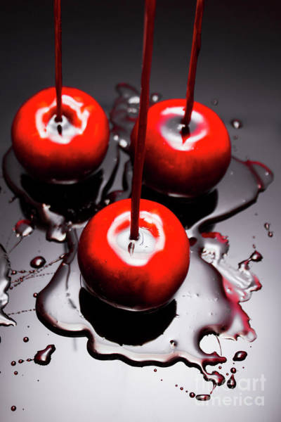 Apple Taffy Still Life. Halloween Treats Poster