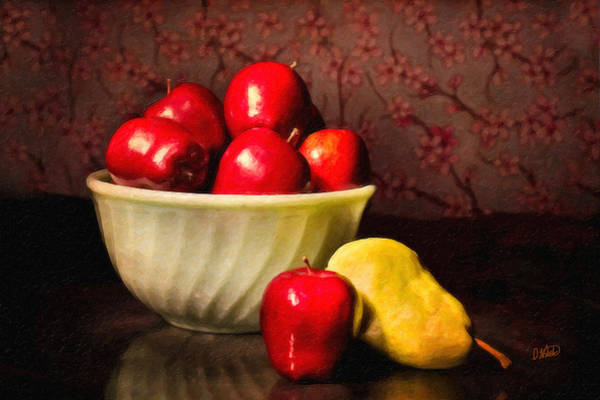 Apples In Bowl With Pear Poster