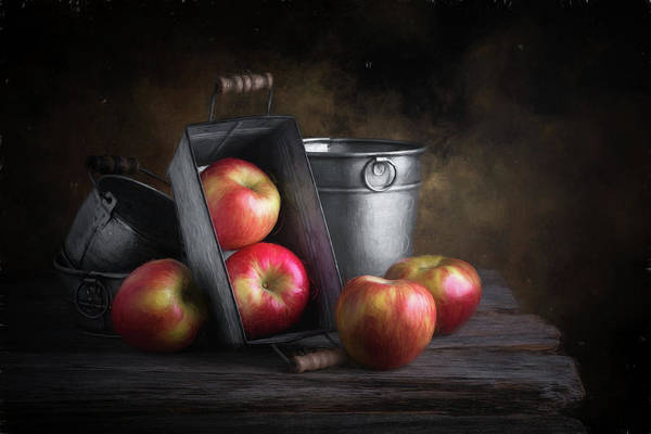 Apples With Metalware Poster