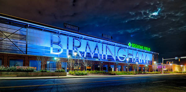 April 2015 -  Birmingham Alabama Baseball Regions Field At Night Poster