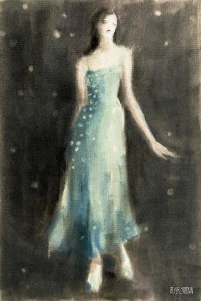Aqua Blue Evening Dress Poster
