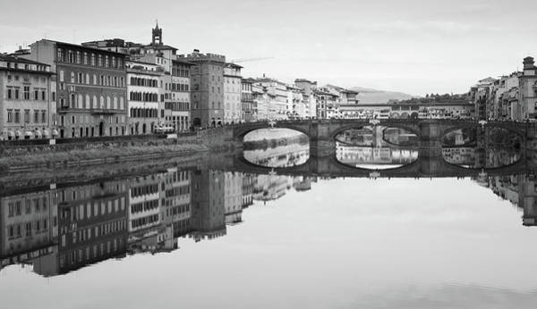 Arno River Reflection, Florence, Italy Poster