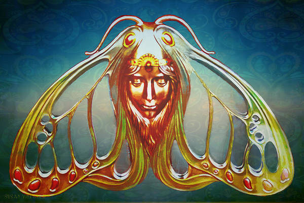 Art Nouveau Butterfly Woman Poster