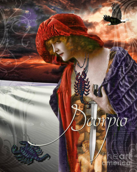 Art Nouveau Zodiac Scorpio Poster
