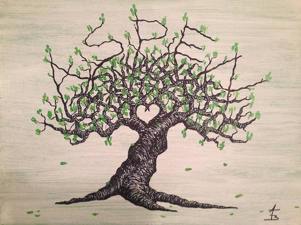 Poster featuring the drawing Aspen Love Tree by Aaron Bombalicki