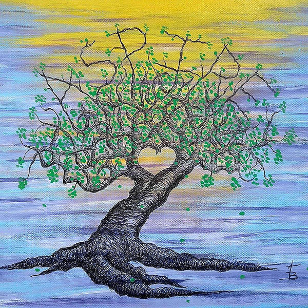 Poster featuring the drawing Aspire Love Tree by Aaron Bombalicki
