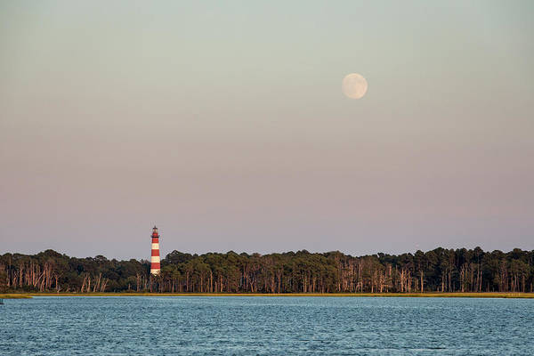 Assateague Light And The Full Moon Poster