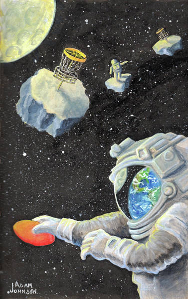 Astronaut Disc Golf Poster