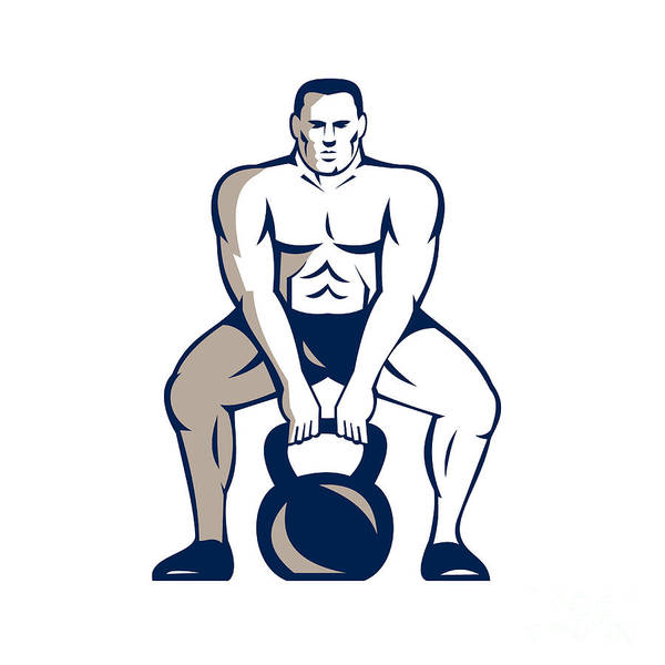 Athlete Weightlifter Lifting Kettlebell Retro Poster