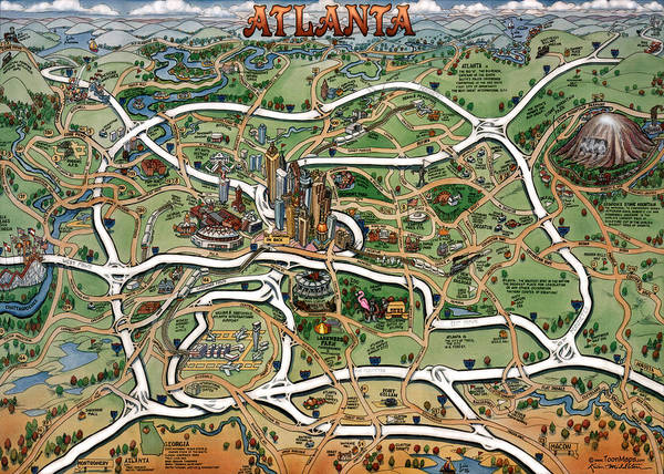 Atlanta Cartoon Map Poster