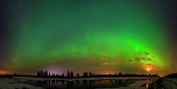 Aurora Over Pond Panorama Poster