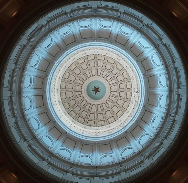 Austin Capitol Dome In Gray And Blue Poster