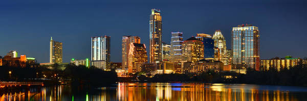 Austin Skyline At Night Color Panorama Texas Poster