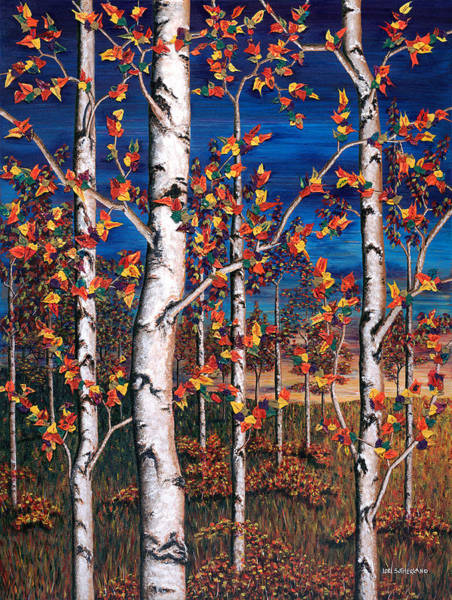 Autumn Birch Forest Poster