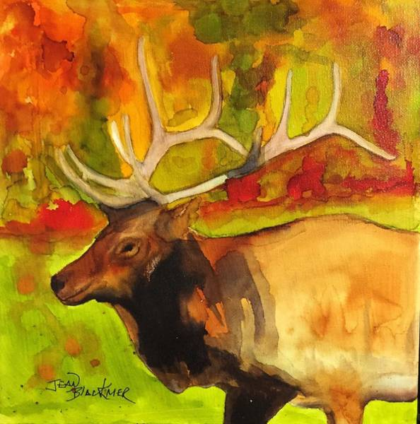 Poster featuring the painting Autumn Elk by Jean Blackmer