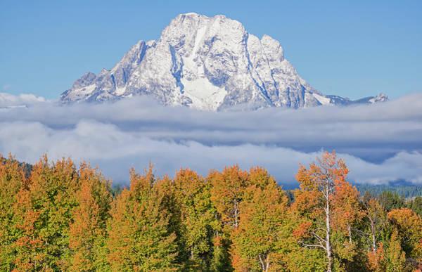 Autumn Fog Below Mt. Moran Poster