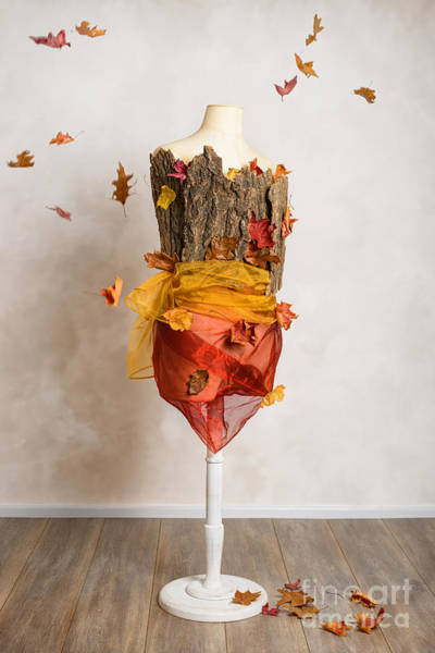 Autumn Mannequin With Falling Leaves Poster