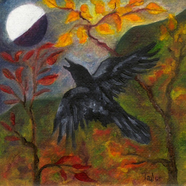 Autumn Moon Raven Poster