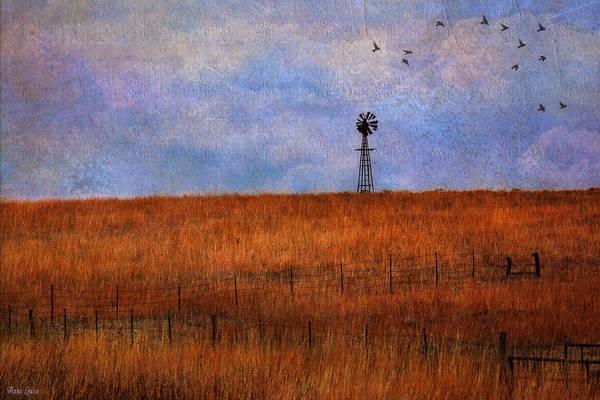 Autumn Prairie Windmill Poster