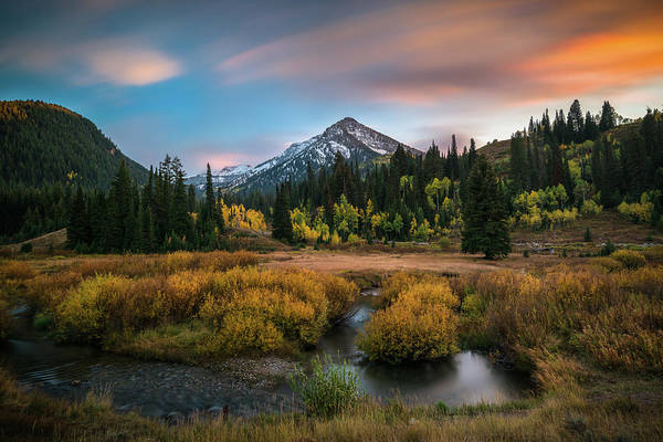 Autumn Sunset In Big Cottonwood Canyon Poster