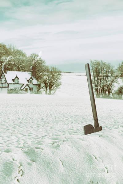 Axe In Snow Scene Poster