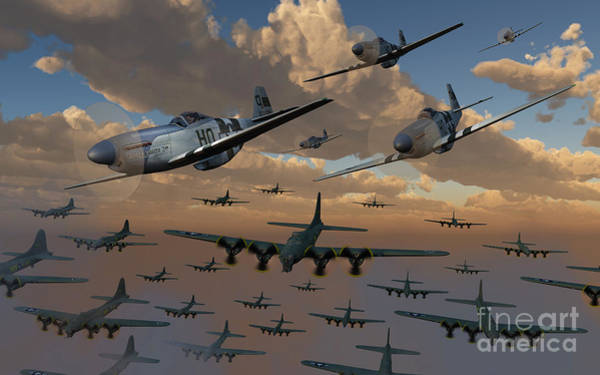 B-17 Flying Fortress Bombers And P-51 Poster
