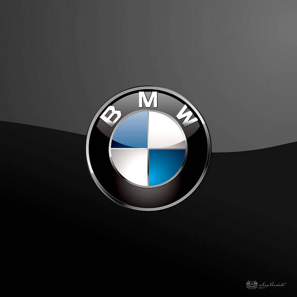 B M W  3 D Badge On Black Poster