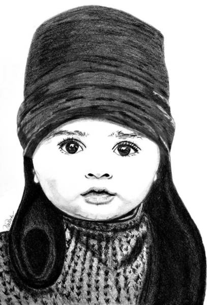 Poster featuring the drawing Baby Its Cold Outside by Donna Proctor
