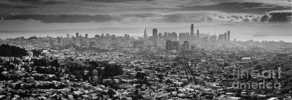 Back And White View Of Downtown San Francisco In A Foggy Day Poster