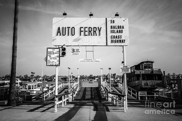 Balboa Island Ferry Black And White Picture Poster