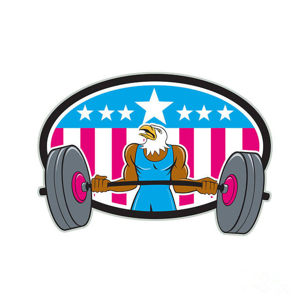 Bald Eagle Weightlifter Barbell Usa Flag Oval  Poster