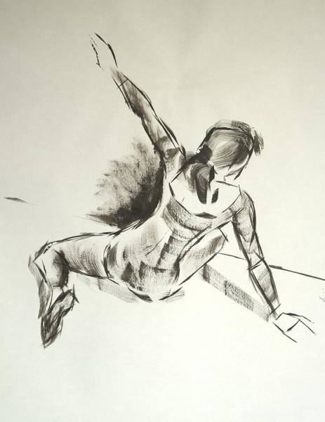 Ballet Dancer Sitting On Floor With Weight On Her Right Arm Poster