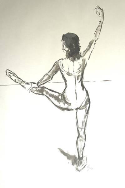 Ballet Dancer With Left Leg On Bar Poster