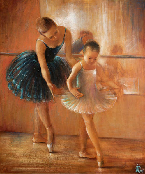 ballet lesson-painting on leather by Vali Irina Ciobanu  Poster