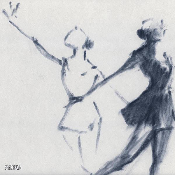 Ballet Sketch Two Dancers Mirror Image Poster