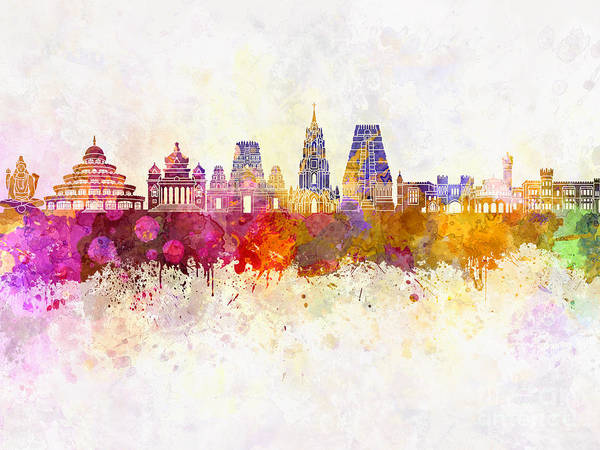Bangalore Skyline In Watercolor Background Poster