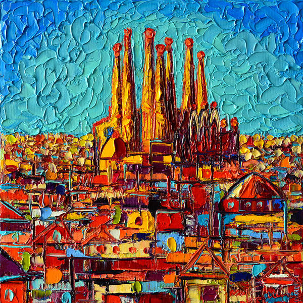 Barcelona Abstract Cityscape - Sagrada Familia Poster