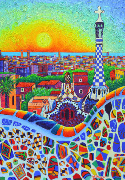 Barcelona Park Guell Sunrise Gaudi Tower Textural Impasto Knife Oil Painting By Ana Maria Edulescu Poster