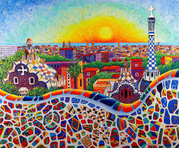 Barcelona Sunrise Colors From Park Guell Modern Impressionism Knife Oil Painting Ana Maria Edulescu Poster