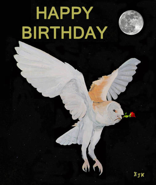 Barn Owl Happy Birthday Poster