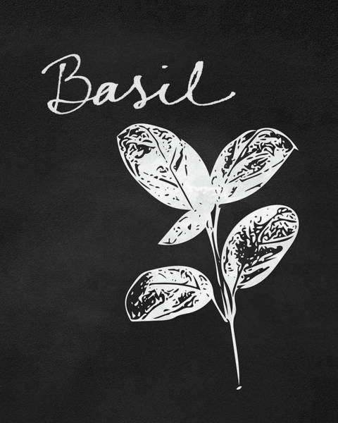 Basil Black And White- Art By Linda Woods Poster