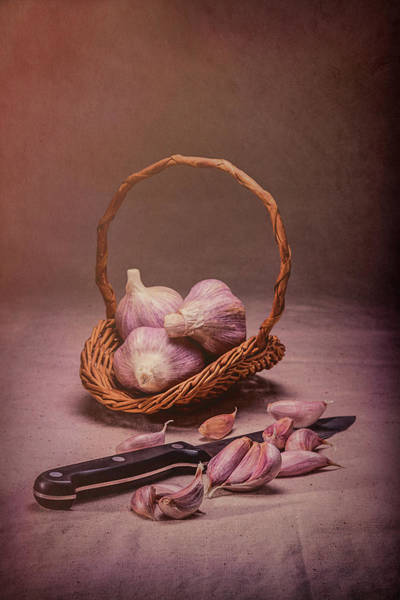Basket Of Garlic Still Life Poster