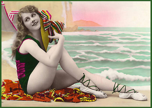 Bathing Beauty On The Shore Bathing Suit Poster