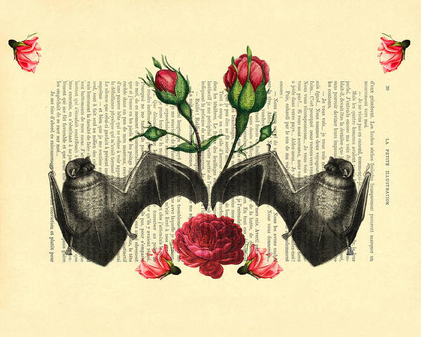 Bats With Angelic Roses Poster