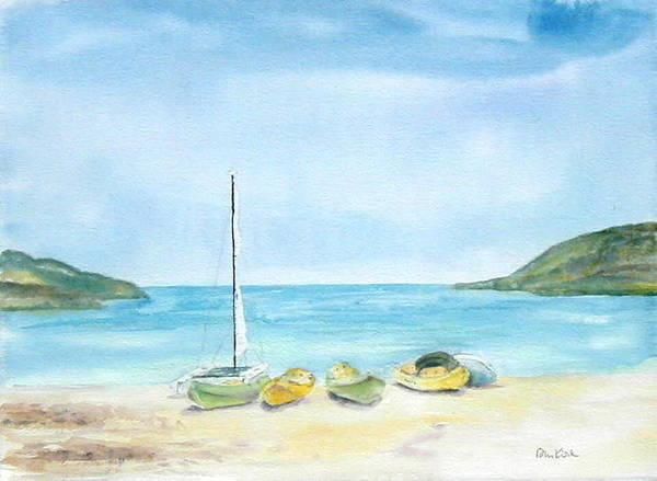 Beach Boats Poster